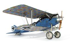 A scale model of the German Pfalz D3a, a kit from Wingnut Wings, a company owned by Peter Jackson!