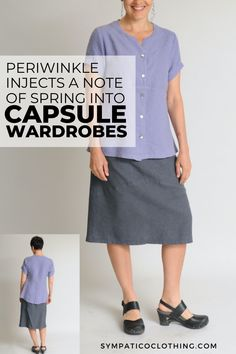 Periwinkle, our easy-to-wear blue, works with a broad array of complexions and hair colors and adds pizazz to a capsule wardrobe. See more styles on the Sympatico website. Ethical Clothing, Ethical Fashion, Sustainable Clothing, Sustainable Design, Travel Wear, Periwinkle Blue, Hair Colors, Wardrobes, Capsule Wardrobe