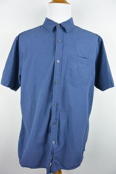 The North Face XL Mens Blue Checkered Cotton Camp Button Front Shirt #756 #TheNorthFace #ButtonFront