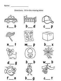 English Worksheets For Kindergarten, Kindergarten Worksheets, Missing Letter Worksheets, Vowel Worksheets, Three Letter Words, English Phonics, English Lessons For Kids, Phonics Words, Phonics Reading