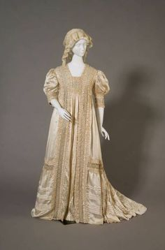 "Tea gown, USA: 1908, silk satin, lace, crepe. ""A tea gown is style of garment worn in the late nineteenth and early twentieth centuries as informal at-home dress. This gown was often worn with members of one's own family or while entertaining close friends at home."""
