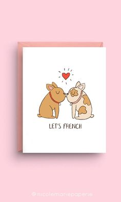"""Let's French - French Bulldog Card Measures 5.5"""" x 4.25"""" Includes size A2 pink envelope French Bulldog Information, French Bulldog Facts, French Bulldog Puppies, French Bulldogs, Frenchie Puppies, Bulldog Meme, Puppy Stages, Most Popular Dog Breeds, Pink Envelopes"""