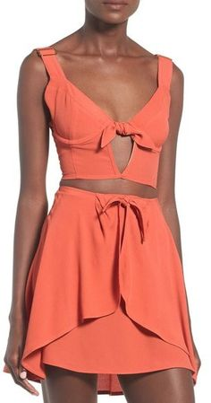 For Love and Lemons Two-Piece Crop Top and Skirt