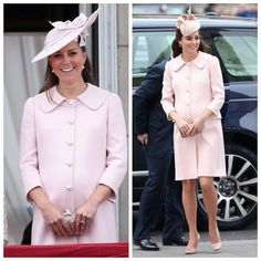 Kate recycled this pink Alexander McQueen coat today after previously wearing it at the trooping the colour in 2013.