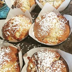 Peach Pear & Almond Muffins. Happy Monday morning. #sweetmuffin #portfairy #morningtea #fresheveryday by bella.claire