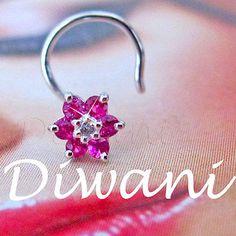 Real Ruby & Diamond Flower 14k Gold Engagement Nose Piercing Ring Pin Stud Bone