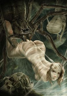 To snare its prey, a giant Spider spins elaborate webs or shoots sticky strands of webbing from its abdomen. Giant spiders are most commonly found underground, making their lairs on ceilings or in dark, web-filled crevices. Such lairs are often festooned with web cocoons holding past victims.