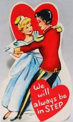 "J1171 60s (Non-Disney) Cinderella & Prince Charming""We Will Always Be In STEP"" Vintage Diecut Valentine Card"