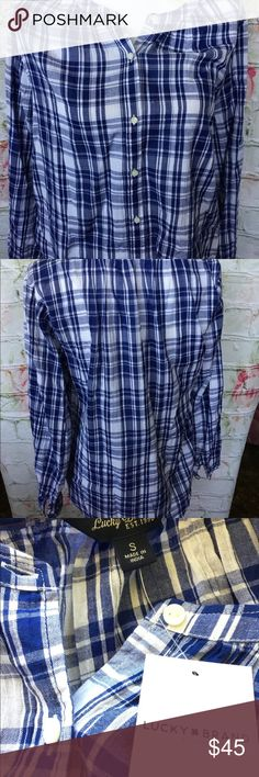NEW Lucky Brand 100% Cotton Plaid Button Down Top Brand new with tag!  Made in India Lucky Brand Tops Button Down Shirts