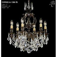 ABC Lighting Rosetta 6-Light Crystal Chandelier Finish: Empire Bronze, Crystal: Precision Crystal Oval Clear