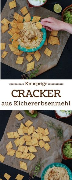 Cracker aus Kichererbsenmehl mit dreierlei Dips Chickpea flour crackers with three types of dips Snacks Für Party, Keto Snacks, Healthy Snacks, Tzatziki, Crunches, Eating Plans, Food Items, Smoothie Recipes, Low Carb