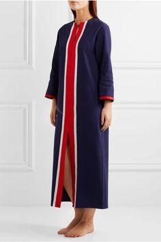 Sleepy Jones - Germaine Grosgrain-trimmed Cotton Kaftan - Navy - x large