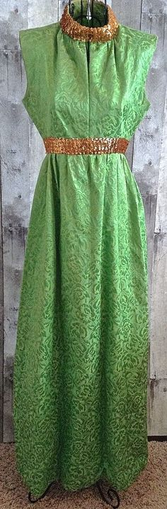 Vintage 1960s Sequin Brocade Maxi Dress Gown Sleeveless Green Gold Size Small #Unbranded
