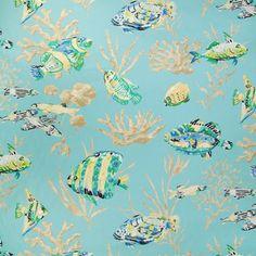 Home Decor Breezy Poolside Decorator Fabric - Contemporary - Upholstery Fabric #Aqua #Teal #Blue #Green #Decorator_Fabric #New #Summer_2014 #Coral #Fabric #NewFabric #Home_Decor #Interior_Design