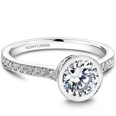 Noam Carver - Bridal Mount - B025-02A, priced from $1,946 (price does not include head stone)  Noam Carver Engagement Ring #diamondring #diamond #engagementring #bling #engaged  sold at Barthau Jewellers, www.barthau.com
