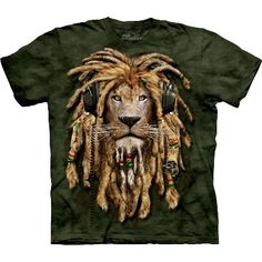 This t-shirt has a great image of DJ Jahman, the Rasta lion, with his mane plaited into dreadlocks. DJ Jahman will be really proud, if he is a roaring success. This t-shirt is part of the new Manimals October range of clothing from The Mountain, which humanizes animals.  Made in the USA from 100% top quality cotton.