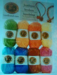 Lion brand bonbons yarn crayon colors