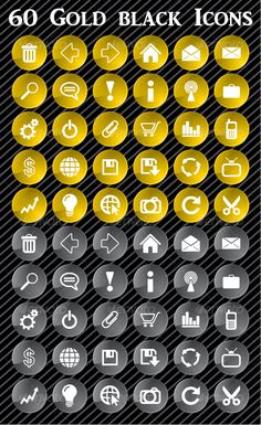 Gold and black web icons by rusyam Gold and black web icons 30 useful web icons 2 color themes (gold and black) High resolutionJPGandPNGfiles or included