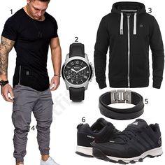 Lässiger Look mit schwarzem Amaci&Sons Shirt, Solid Zip-Hoodie, grauer Sweatpants, Adidas Sneakern, Fossil Armband und Armbanduhr.