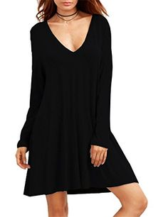 Women's Casual Dresses - Haola Womens Basic Long Sleeve Casual Loose Deep V Neck TShirt Dress >>> You can get more details by clicking on the image.