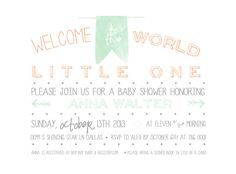 welcome to the world baby shower invitation by lovepeppermintplum, $12.00