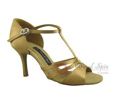 Natural Spin Signature Latin Shoes(Open Toe):  H1166_GoldES