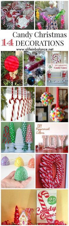 14 Candy Christmas Decorations to Sweeten Your Home -- Sweeten your Christmas decorating by incorporating holiday candies into centerpieces and arrangements inside and outside your home. How about decorating your home like Hansel and Gretel's Gingerbread house this year? Or do your version of the game Candyland?