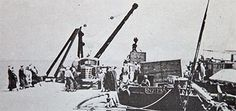 Moving stores ashore at Zikrit in 1948