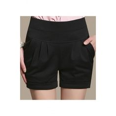 Fashion Women Plain High Waist Pleated Cuffed Pockets Shorts ($25) ❤ liked on Polyvore featuring shorts, highwaist shorts, high-waisted shorts, pleated shorts, zipper pocket shorts and cuff shorts