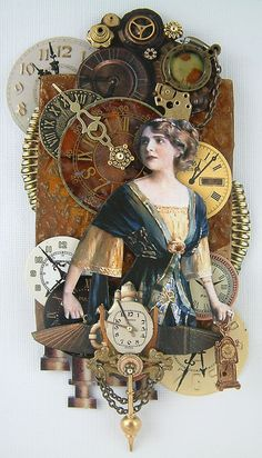 original pinner says: steampunk altered art. I want to do a large canvas steampunk mixed media with a vintage decoupaged image, perhaps something with Amelia Earhart ! Altered Books, Altered Art, Altered Tins, Mixed Media Collage, Collage Art, Steampunk Kunst, Decoration Shabby, Pub Vintage, Assemblage Art