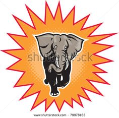 illustration of an african elephant charging halftone dots set inside exploding balloon done in retro style on isolated background - stock vector #elephant #retro #illustration