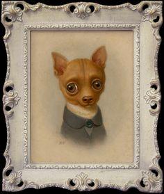 "Marion Peck: ""Pepi Oil on canvas 2006 Marion Peck, Dachshund, Art Through The Ages, Dog Heaven, Lowbrow Art, Pop Surrealism, Little Dogs, Dog Art, Pet Portraits"