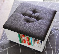MonMakesThings crate storage ottoman with upholstered top DIY tutorial