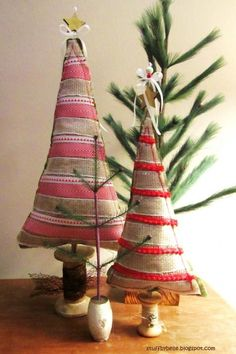 Ribbon and Burlap Christmas Trees