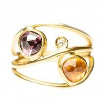 Margoni Pink Tourmaline, Citrine & Diamond 18ct Gold Ring