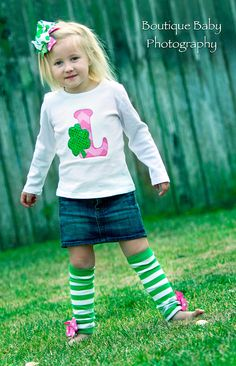 St Patrick's Day Shirt or onesie for girls by DarlingLittleBowShop, $26.00