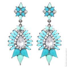 Boucles d'oreilles pendantes strass bleu turquoise - Bijoux Fantaisie/Boucles d'oreilles - Bulle2co