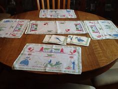 Vintage Linen Placemats Napkins and Doily by ContemporaryVintage, $20.00