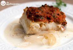 Bacalao al horno con tomate y pimientos - Recetasderechupete.com