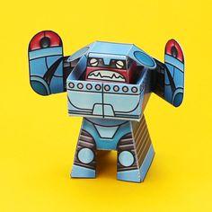 free pdf- Rumbolt paper toy robot retro