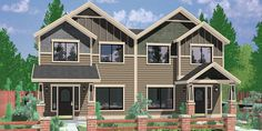 House front color elevation view for D-601 Craftsman duplex house plans, house plans with rear garages, 3 bedroom duplex house plans, narrow townhouse plans, D-601
