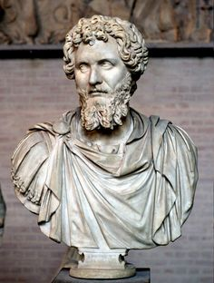 Bust of Septimius Severus (reign 193–211 CE). White, fine-grained marble, modern restorations (nose, parts of the beard, draped bust).