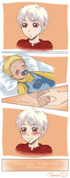 Aph - Hetalia - Big brother by WhistlingWolf13.deviantart.com on @deviantART - Gilbert and baby Ludwig
