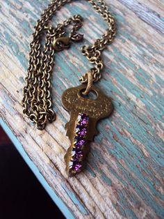 Vintage Key Pendant Necklace Amethyst by primitivepincushion, $28.99