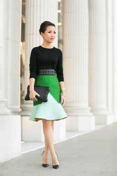 Black Bodice with the Peplum Skirt in Shades of Green!!