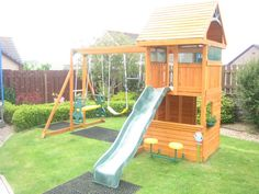 The Osborn climbing frame is ideal for those who want everything but don't have a long enough garden to fit it all in. It features our monkey bar/ swing combo which comes with two belt swings, and a trapeze. Kids can use the straight, wavy slide and then take a break on one of the café stools which are attached to the front of the lower playhouse. The lower playhouse is entirely enclosed with a door frame to the rear, two small windows on the side walls and a sizeable serving hatch at the…