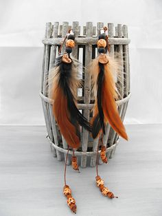 Natural horse mane dangler with feathers and wooden beads