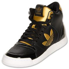 adidas Originals Midiru Court 2.0 Mid Women's Athletic Casual Shoes | FinishLine.com | Black/Gold
