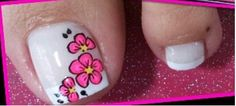From general topics to more of what you would expect to find here, nail-art-stickers. Flower Nail Designs, Toe Nail Designs, French Pedicure, Manicure And Pedicure, Toe Nail Art, Toe Nails, Summer Toe Designs, Pretty Pedicures, Crystal Nails