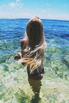 sea // elle mer // x, woman, beach, ocean water, blue sky, summer, sun, hair, blond, bronze, skin, beautiful life, chill, sommer, haare, sand, strand, leben